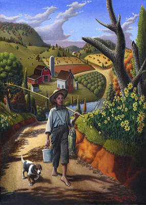 5x7 Greeting Card Fish Supper Boy Walking Dog Rural Country Farm Landscape Original by Walt Curlee