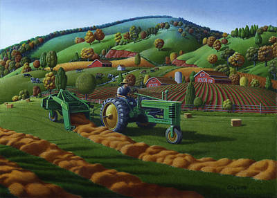 Pennsylvania Farm Painting - 5x7 Greeting Card John Deere Farm Tractor Baling Hay by Walt Curlee