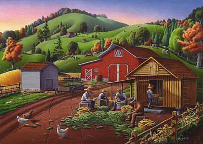5x7 Greeting Card Shucking Corn Rural Farm Landscape Original by Walt Curlee