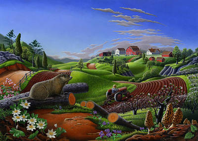 Groundhog Painting - 5x7 Greeting Card Spring Groundhog Country Farm Landscape by Walt Curlee