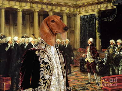 Saluki Painting -  Saluki Art Canvas Print by Sandra Sij
