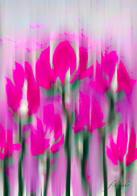 Art Print featuring the digital art 6 1/2 Flowers by Frank Bright