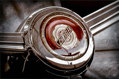 1949 Chrysler Town And Country Convertible Steering Wheel Emblem Art Print by Jill Reger
