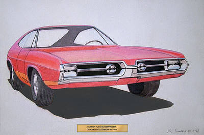 Car Drawing - 1967 Barracuda   Plymouth Vintage Styling Design Concept Rendering Sketch by John Samsen
