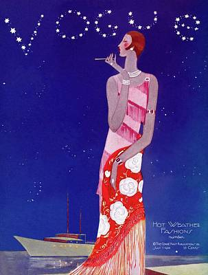 A Vintage Vogue Magazine Cover Of A Woman Art Print by Eduardo Garcia Benito