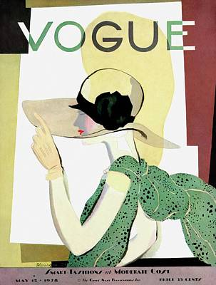 1928 Photograph - A Vintage Vogue Magazine Cover Of A Woman by Pierre Mourgue