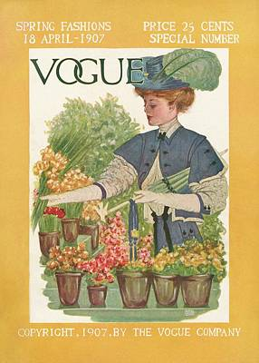 A Vintage Vogue Cover Of A Woman Gardening Art Print