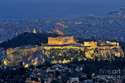 Akropolis Photograph - Acropolis Of Athens During Dusk Time by George Atsametakis
