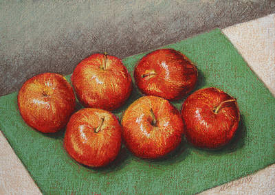 Pastel - 6 Apples Washed And Waiting by Marna Edwards Flavell