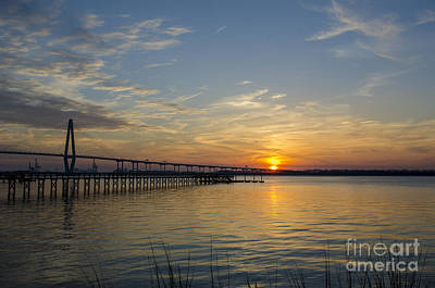 Arthur Ravenel Bridge Tranquil Sunset Art Print by Dale Powell