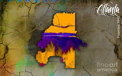 Atlanta Skyline Mixed Media - Atlanta Map Watercolor by Marvin Blaine