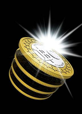 Electronic Photograph - Bitcoins by Victor Habbick Visions