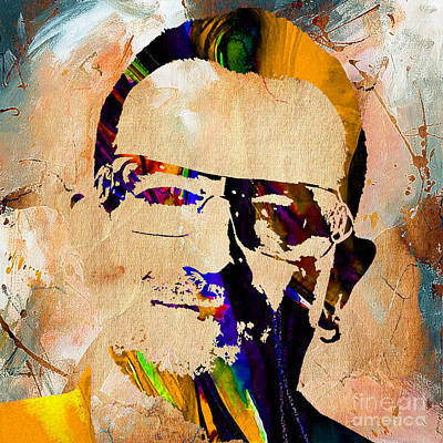 Music Mixed Media - Bono U2 by Marvin Blaine