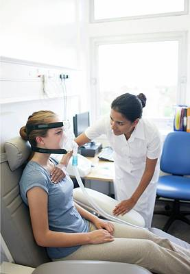 Physiotherapist Photograph - Breathing Assessment by Science Photo Library