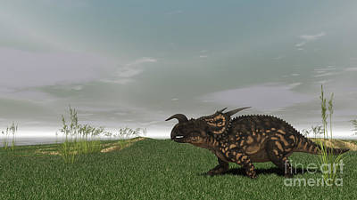 Digital Art - Brown Einiosaurus Walking by Kostyantyn Ivanyshen