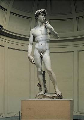 Male Nude Relief Photograph - Buonarroti Michelangelo, David, 1501 - by Everett