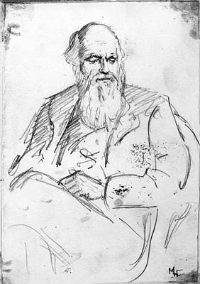 Collier Drawing - Charles Robert Darwin (1809-1882) by Granger