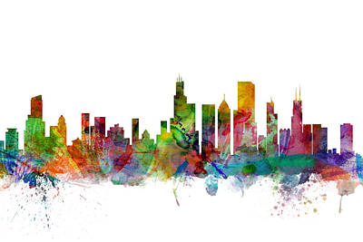 Watercolour Digital Art - Chicago Illinois Skyline by Michael Tompsett