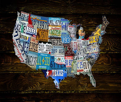 Continental Usa License Tag Map Art Print by Brian Reaves
