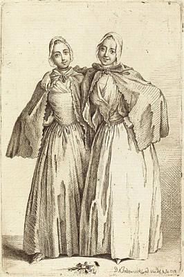 Demoiselles Drawing - Daniel Nikolaus Chodowiecki German, 1726 - 1801 by Quint Lox
