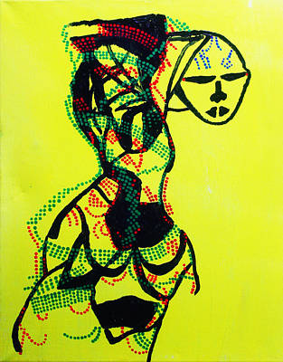 Africa Dinka Painting - Dinka Lady - South Sudan by Gloria Ssali