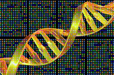 Dna Microarray And Double Helix Art Print