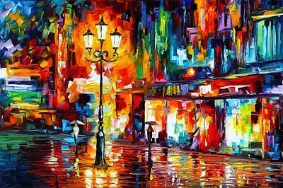 Abstract Realism Painting - Downtown Lights by Leonid Afremov