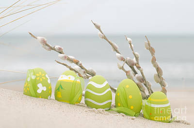 April Photograph - Easter Decorated Eggs On Sand by Michal Bednarek