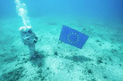 Esa Underwater Astronaut Training Art Print by Alexis Rosenfeld