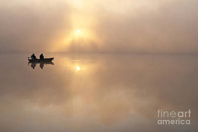 Fisherman In Boat, Lake Cassidy Art Print by Jim Corwin