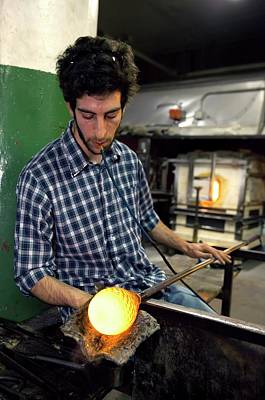 Hand Made Photograph - Glass Blowing by Jim West