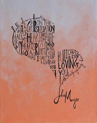 John Mayer Painting - Half Of My Heart by Leah Smith