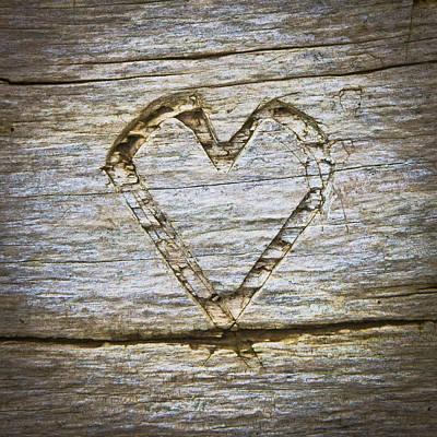 Engraving Photograph - Heart Shape by Tom Gowanlock
