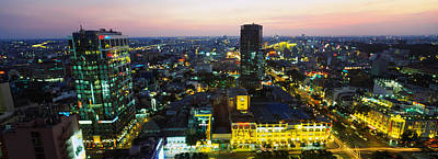 Romantic Location Photograph - High Angle View Of A City Lit by Panoramic Images