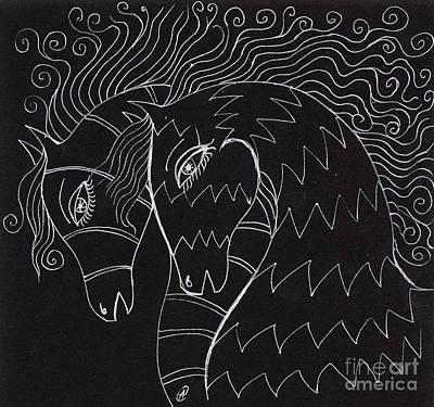 Primitive Drawing - Horses by Angel  Tarantella
