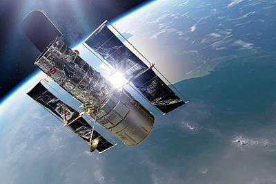 Orbiting Photograph - Hubble Space Telescope by Detlev Van Ravenswaay