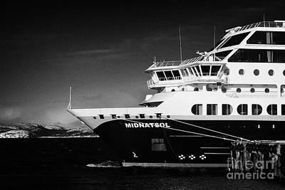 Hurtigruten Ship Mv Midnatsol Berthed In Kirkenes Finnmark Norway Europe Art Print