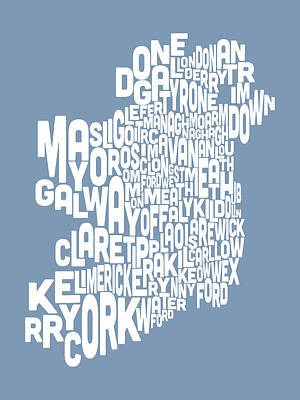 Travel Digital Art - Ireland Eire County Text Map by Michael Tompsett