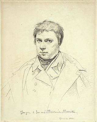 Self-portrait Drawing - Jean-auguste-dominique Ingres, French 1780-1867 by Litz Collection