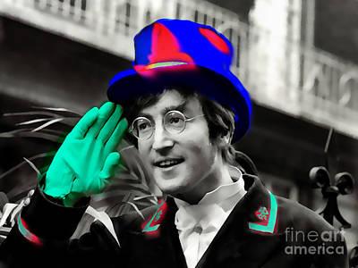 Fab Four Mixed Media - John Lennon by Marvin Blaine