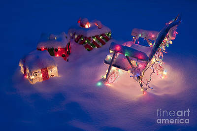 Lawn Chairs With Lit Christmas Presents Print by Jim Corwin
