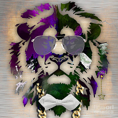 Fantasy Mixed Media - Lion Collection by Marvin Blaine