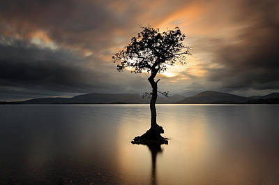 Reflections In Water Photograph - Loch Lomond Sunset by Grant Glendinning