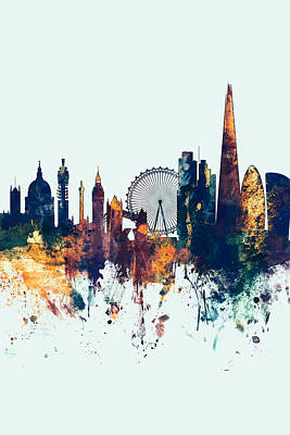 United Kingdom Digital Art - London England Skyline by Michael Tompsett