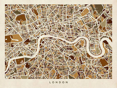 Street Digital Art - London England Street Map by Michael Tompsett