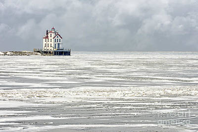 Fine Dining - Lorain Lighthouse in Winter by Michael Shake