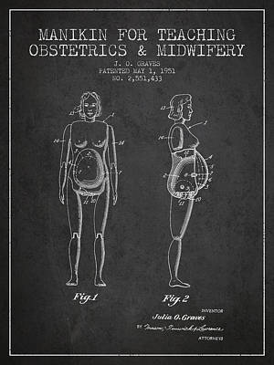 Pregnant Drawing - Manikin For Teaching Obstetrics And Midwifery Patent From 1951 - by Aged Pixel