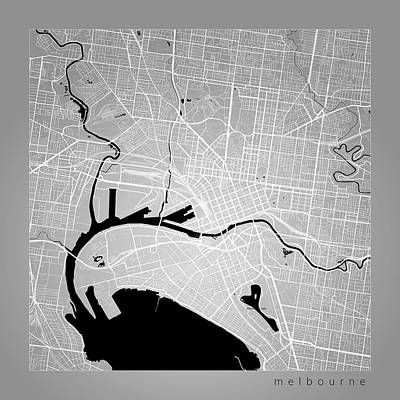 Melbourne Digital Art - Melbourne Street Map - Melbourne Australia Road Map Art On Color by Jurq Studio