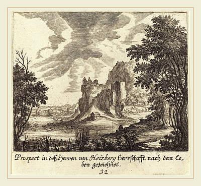 Mountain View Drawing - Melchior Küsel After Johann Wilhelm Baur German by Litz Collection