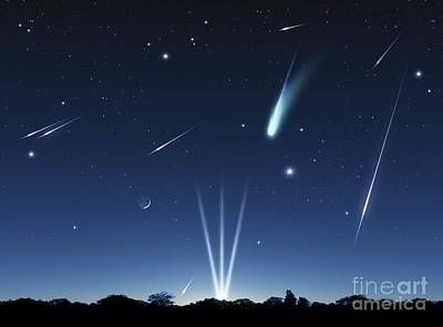 Photograph - Meteor Shower Artwork by Detlev van Ravenswaay